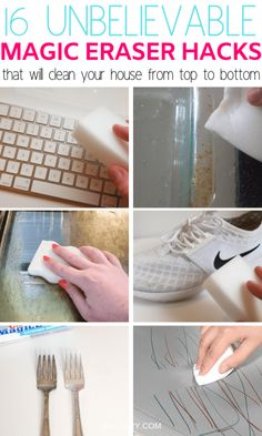 These genius magic eraser hacks will make cleaning so much easier! Find out which awesome magic eraser uses you have been missing out on now! Clean Dry Erase Board, Magic Eraser Uses, Magic Erasers, Baking Soda Beauty Uses, Melamine Foam, Soap Scum, Drawing For Kids, Organization Hacks, Organizing Tips