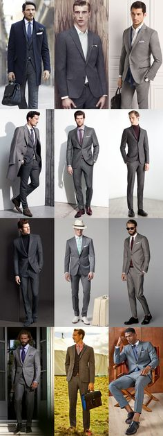 Men's Grey Suit Lookbook - Full Formal Styling I got a wedding to go to next weekend and I just bought a grey suit. I am looking for some inspiration for accessories.