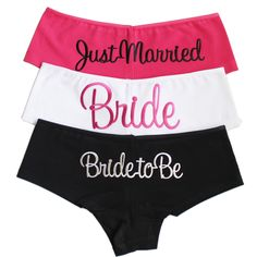 3 pack of underwear perfect Bride to be Gift set for a newly engaged Bride. One for before the wedding, one as a Bride and one Just married. Bridal Knickers, Perfect Bride, Team Apparel, Bridal Shower Decorations, Just Married, Bride Gifts, Bride Groom, Underwear, Legs