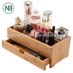 Bamboo Desktop Organizer Wooden Cosmetics Storage Box Makeup Organizer with Drawers