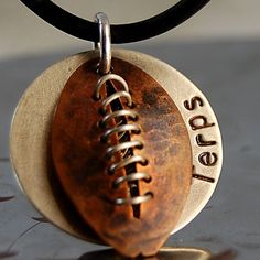 Football Necklace with Stitching  99.00 Stamped Jewelry 10902750c