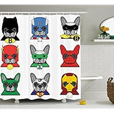 Dog Superheroes Shower Curtain Set By Ambesonne, Bulldog Superheroes Fun  Cartoon Puppies In Disguise Costume