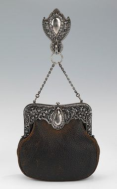 Victorian Art Deco Handbag Leather Ornate Metalwork Built In Mirror Coin Purse Jade White Bags, Handbags & Cases Clothing, Shoes & Accessories