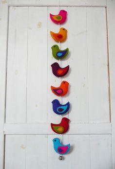 Colorful felt birds wall hanger / door hanger 8 stuffed