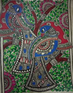 Kalamkari Painting, Madhubani Painting, Indian Art Paintings, Acrylic Paintings, Oil Paintings, Fabric Painting, Painting & Drawing, Madhubani Art, Indian Folk Art