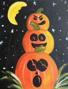halloween painting on canvas Halloween Canvas Paintings, Fall Canvas Painting, Halloween Painting, Autumn Painting, Autumn Art, Painting For Kids, Diy Painting, Canvas Art, Fall Paintings