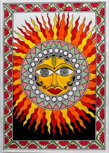 MADHUBANI PAINTING OF SUN - CREATIVE ART Madhubani Paintings Peacock, Madhubani Art, Indian Art Paintings, Kerala Mural Painting, Sun Painting, Fabric Painting, Oil Pastel Art, Indian Folk Art, Cool Art Drawings
