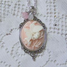 Cameo Pendant - Peach Butterfly - Neo Victorian Jewelry - Butterflies & Flowers... 21.00, via Etsy.