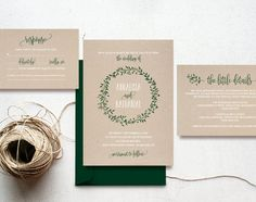 This listing is for a Forest Green Rustic Wreath Wedding Invitation Set PDF Instant Download. Purchase this listing to receive 4 high