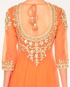 Gulmohar Orange Kalidar Suit with Gota Patti Embellishments - Buy Preeti S… Pakistani Dresses, Indian Dresses, Indian Outfits, Indian Wedding Fashion, Indian Fashion, Kurta Designs, Saree Blouse Designs, Indian Attire, Indian Wear
