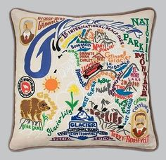 From CATSTUDIO Glacier National Park Hand Embroidered / Stitched Pillow New!