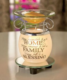Fill your home with pleasant aromas along with affectionate words when you use this Sentiment Fragrance Warmer. Just place your own wax tarts or liquid scents in the top dish, and switch on the warmer to let the fragrance fill the room. Scented Oils, Scented Wax, Candle Wax Warmer, Wax Warmers, Scent Warmers, Tart Warmer, Valentine Theme, Vinyl Quotes, Oil Candles