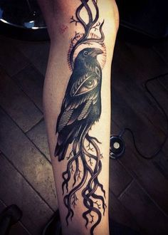 Raven Tattoo on leg - 60+ Mysterious Raven Tattoos <3 <3