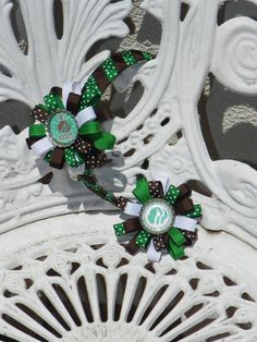 Girl Scout Round Ribbon Hair Bow Green Brown White