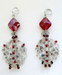 Silver red wire wrapped earrings, Red wire wrapped earrings, Filigree earrings, red earrings, Goth earrings