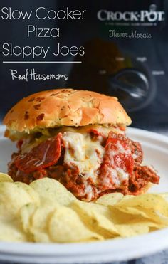 Slow Cooker Pizza Sloppy Joes, Flavor Mosaic's post on  Real Housemoms, combines 2 family favorites into an easy slow cooker dinner.    #slowcooker #backtoschool
