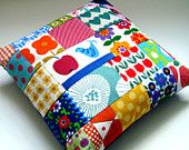 Scandinavian Patchwork Cushion / Pillow Cover - Vintage Retro Swedish Birds Linen and MOd Flowers. £32.50, via Etsy.