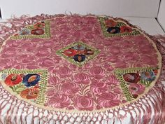 51aa6e6648 Antique MATYO Hungarian Silk Embroidered Round Table Shawl 29