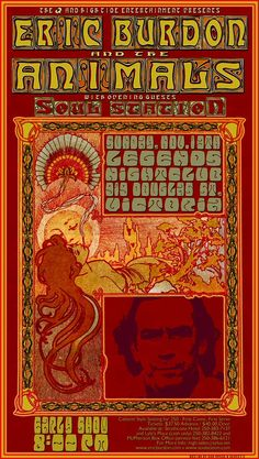 Classic Rock Concert Posters   Eric Burdon and The Animals Poster by Bob Masse