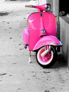 ride a pink scooter