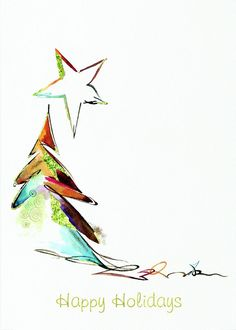 Tree Painting Watercolor Christmas Cards 38 Ideas For 2019 Watercolor Christmas Cards, Diy Christmas Cards, Noel Christmas, Watercolor Cards, Xmas Cards, Holiday Cards, Christmas Crafts, Christmas Decorations, Greeting Cards