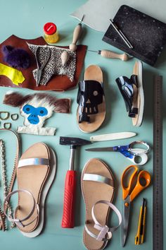 sustainable ethical designer sandals. Reclaimed fur and leather. artisan shoemaking course for beginners