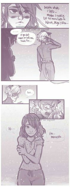 """AWWWW now chat's gonna be like """"OH SHOOT"""", now chat's gonna be like """"OH SHOOT"""" By daylight, Marinette Dupain-Cheng and Adrien Agreste are ordinary teenagers, but unbeknownst to their fami. Comics Ladybug, Meraculous Ladybug, Bugaboo, Lady Bug, Ladybug Und Cat Noir, Ladybug And Cat Noir Reveal, Film Manga, Miraculous Ladybug Fan Art, Marinette And Adrien"""