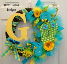 Summer Flip Flop Initial Wreath