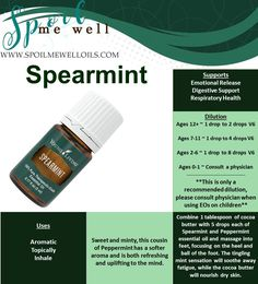 Spearmint Essential Oil, Young Living Essential Oils, all natural living, dilution ratios