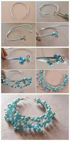 Beebeecraft tutorials on how to make free beadedbracelet patterns at home with pearlbeads and wires Bead Jewellery, Hair Jewelry, Beaded Jewelry, Jewelery, Beaded Bracelets, Fashion Jewelry, Jewellery Supplies, Jewelry Making Tutorials, Jewelry Making Beads