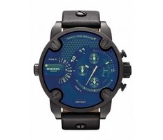 Diesel DZ7257 black Leather Men's watch with blue dial