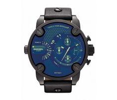 Diesel DZ7257 black Leather Men's watch with blue dial