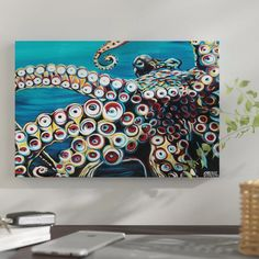 New 'Wild Octopus I' Graphic Art Print on Wrapped Canvas by East Urban Home Wall Art Decor. offers on top store Octopus Painting, Octopus Art, Octopus Tentacles, Painting Frames, Painting Prints, Art Prints, Paintings, Painting Art, Canvas Fabric