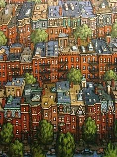 """Back Bay Brownstones"" oil on canvas. by Timothy Craig (The Fenway, Boston)"