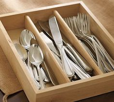 Caterer's 36-Piece Flatware Set #potterybarn Okay, I already have one of these and it is much larger that I bought at Ross Dress for Less. These wooden containers are fabulous and look great.