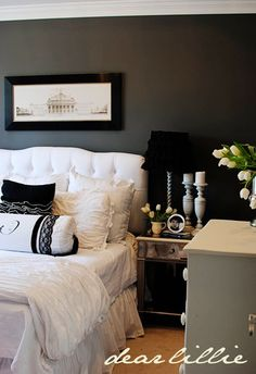 charcoal gray walls - white bedding - quailridge