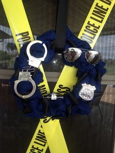My son wanted a Police birthday party. I always make them a wreath for the party, then they get to hang it on their bedroom door. He loved this one!