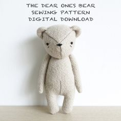 the dear ones bear is a calm, patient secret keeper who always knows where to find the sweetest honey... and now you can make your own!  this digital download includes a 14 page PDF file with step-by-step instructions & photos, helpful tips, a materials list, a helpful source guide, and of course my own original pattern (in a handy full size template)! everything you need to make your own the dear ones bear. (the completed dear ones bear measures approximately 6 tall.)  this is an interme...