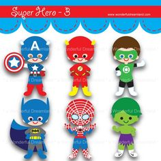 Printable Clip Art Digital PDF PNG File - Superhero Super Hero - 3 | wonderfuldreamland - Digital Art on ArtFire