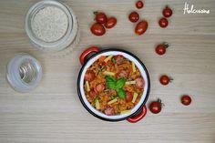 Risotto aux tomates, basilic et comté. Plat végétarien