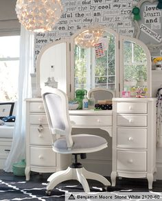 Pretty Vanity <3 Wall Poetry Decals & Lilac Graphic Vanity Room   PBteen
