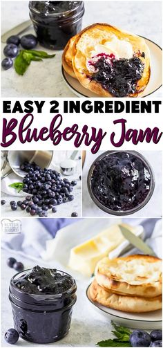 Easy blueberry jam is a delicious homemade jam recipe with only 2 ingredients (and water!) Super simple recipe that's ready in under an hour & perfect way to preserve fresh blueberries! #jam #jamrecipe #easyjam #blueberries #nopectin #freezerjam #recipe from BUTTER WITH A SIDE OF BREAD Jelly Recipes, Jam Recipes, Canning Recipes, Kitchen Recipes, Brunch Recipes, Real Food Recipes, Breakfast Recipes, Yummy Food, Family Recipes