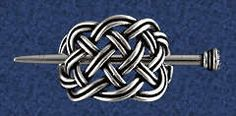 """Small Basket Stick Barrette - Add some pizzazz to your ponytail! The Celtic knot design is classic and comfortable. The """"basket"""" portion of this piece measures less than 1 1/2"""" across, making it suitable even for those with fine hair. For those with thick or very curly hair, try pulling back and securing only the top layer of hair for a quick and easy hairstyle. Made of lead-free pewter."""
