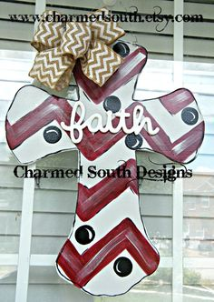 Wood Cross Door Hanger, Mississippi State decor, Texas A&M, Charmed South Design on Etsy, $35.00