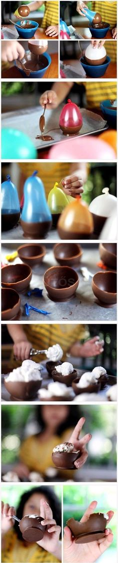 Serve dessert in an edible chocolate bowl!...love this idea lots less washing  ,