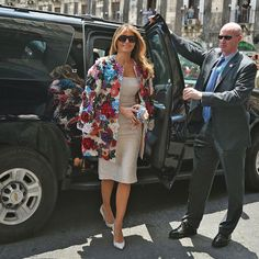 President Donald Trump's wife made a floral statement stepping out in a $51,500 jacket by Dolce & Gabbana in Sicily. Melania, 47, exuded glamour as she arrived to the Chierici Palace City Hall of Catania on the sidelines of a G7 summit of the Heads of State and of Government in Taormina wearing the piece that features 3D floral details over a sleeveless creme brocade sheath dress, which she paired with a matching Dolce & Gabbana floral pouchette clutch, pumps and shades. Photo: GIOVANNI…
