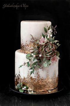 Sugar flowers by Golumbevskaya Olesya make a rustic wedding cake masterpiece with succulent details. Beautiful Wedding Cakes, Beautiful Cakes, Amazing Cakes, Beautiful Flowers, Succulent Wedding Cakes, Succulent Cakes, Dessert Party, Dessert Food, Wedding Cake Inspiration
