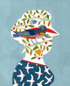pájaros en la cabeza, ilustración de Laurent Moreau