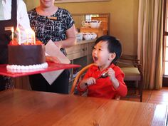 Toby getting his birthday cake at Voyager Estate