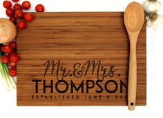 Personalized Cutting Board Wedding Gift Mr and Mrs by WoodKRFT